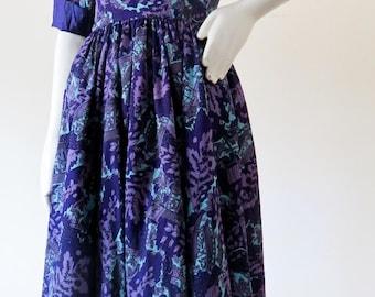 1950s Rare Dramatic Print Anne Fogarty Dress w/ Full Skirt