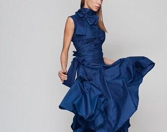 Dresses on sale New Spring Dress, Loose Dress, Blue Dress, Turtleneck Dress, Plus Size Boho Dress, Holiday Dress, Sun Dress, Ribbon Dress, B
