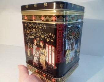 Vintage Big Chinese Tea Box  - Vintage Metal Tin Box For Kitchen - Big Metal Tin Box For Tea - Vintage Tea Caddy