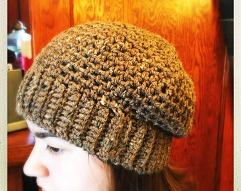 Crocheted Light Brown Slouchy Hat