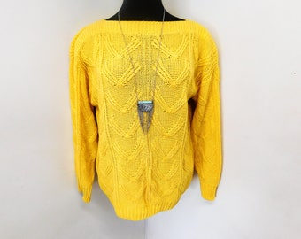 Vintage 80s 90s Bright Canary Yellow Sweater Tunic Textured Cotton Knit Boatneck Slouchy S Small