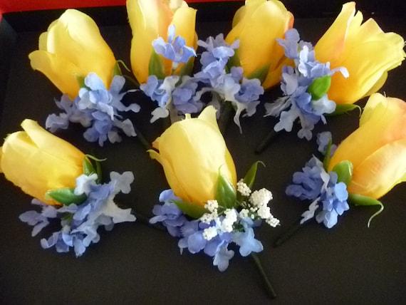 Wedding Bouttonniere Set of 7 Silk Yellow Tea Rose Baby Breath
