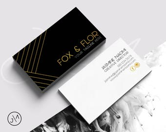Business card design template blush pink gold feminine business card design black and gold template double sided small business business business identity pre made minimalist luxe colourmoves