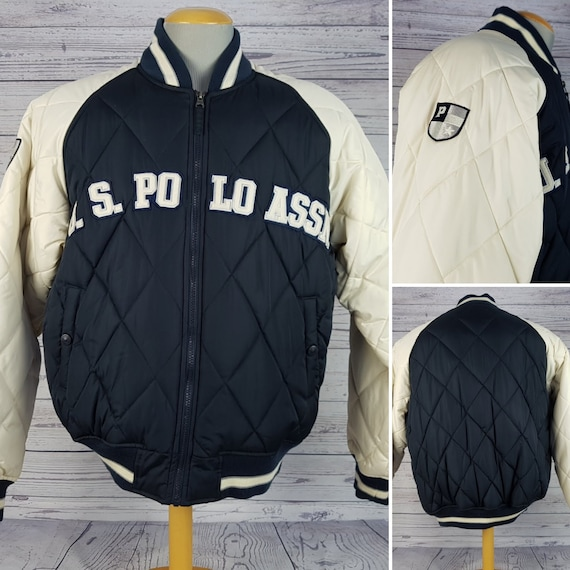 Vintage 90's U.S. Polo Assn. Men's Large Winter Jacket Navy Beige Bomber Warm Winter Coat Quilted and Puffed wzODBg4