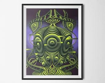 "Signed 11""x14"" Canvas Paper Print - ""Midichlorian Mantis"""