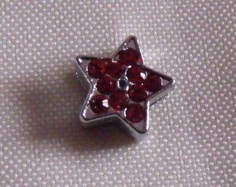 passing silver 12mm red rhinestone star bead