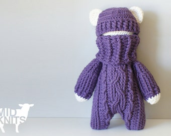 "DIY Crochet PATTERN - Crochet Cable Teddy Bear Stuffie Size: 18"" tall (2015027)"