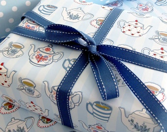 Single Sheet of Double Sided Gift Wrapping Paper - British Tea - Teapots - Tea Wrapping Paper - Gift Wrap - Gift Wrap for Her