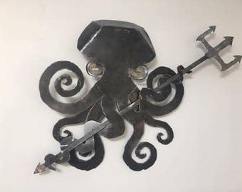 Wall hanging Steel Octopus with Trident