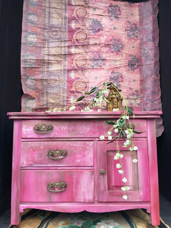 Sold Bohemian Pink Vintage Cabinet Bedside Table Shabby Chic
