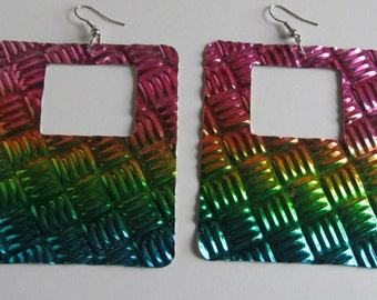 Show Off  Large Rainbow Earrings  Large Dangle earrings  Hip To Be Square Earrings Rainbow Jewelry BIG earrings