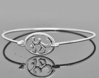 Om Bangle, Om Bracelet, Yoga Bangle, Yoga Bracelet, Yoga Jewelery, Om Sign, Om Symbol, Sterling Silver Bangle, Sterling Silver Bracelet