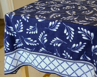 Vintage Tablecloth • Navy and White Textile • Blue Willow Collector • Wedgewood Dining Room • Leaf Motif