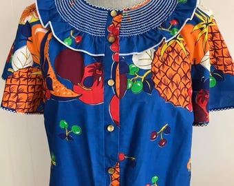 Fabulous Vintage Carmen Miranda Fruit Print Patio - House Dress -- Size XL