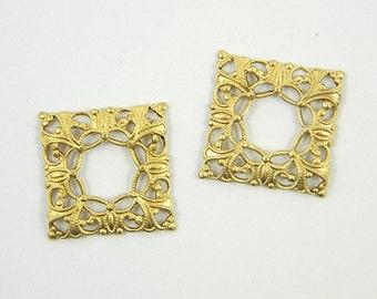Square Filigree, Raw Brass Filigree, Cabochon Wrap, Filigree Connector, Brass Finding, 20mm - 6 pcs. (r121)