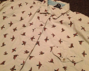 Vintage Mens Kyoto Kasuals All Over Print Tacky Duck Geese Hunting Long Sleeve Shirt Size L