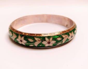Vintage sterling silver floral enamel bangle bracelet