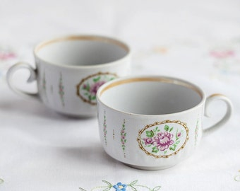 Floral cups_set of two_white ceramic_rose print_botanical design_pastel colors_rustic farmhouse kitchen_coffee cups_Happy Valentines Day