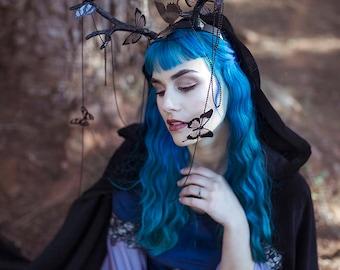 Antlers headband black butterflies horn headpiece fairy crown faun cosplay