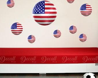 Team USA 3D Soccer Ball Wall Stickers