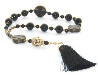 Buddha Meditation Beads, Black Onyx Beads & Black Tassel