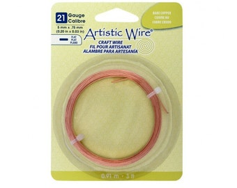 Artistic Wire, Flat Craft Wire, Bare Copper, Flat Wire, 21 Gauge, 3 foot Coil, 5mm wide x .75 Thick,