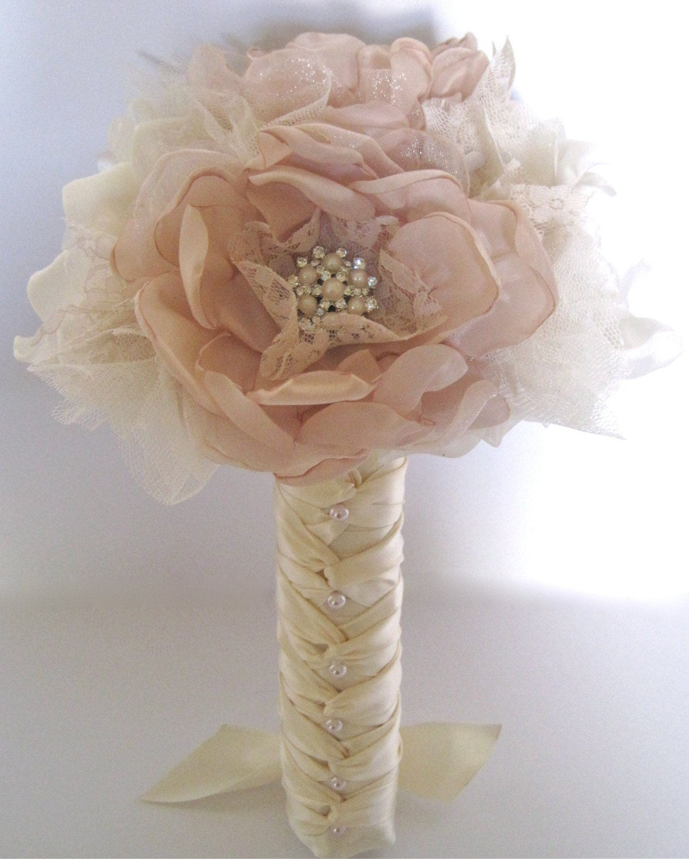 Bridesmaid brides fabric flower wedding bouquet in champagne zoom izmirmasajfo