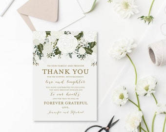 Thank You Note Template, DIY Wedding Thank You, Wedding Thank You Card, Printable Thank You, INSTANT Download PDF Template #CL112
