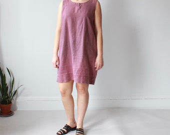 vintage plus size linen dress | mauve linen tank dress, size US 12-14