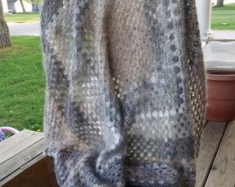 French Angora crochet lap blanket
