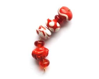 Set of red lampwork viking beads