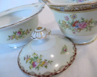 Vintage Mismatched China Sugar and Creamer Set, Tea Party, Tea Set, Garden Party, Shabby, Cottage Chic, Wedding China
