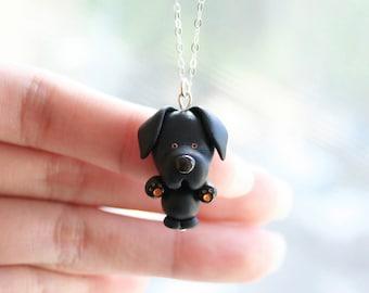 Sky the Black Labrador Necklace -Sterling silver-