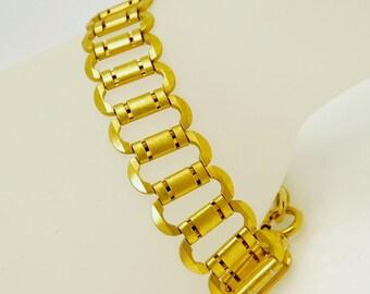 Art Deco Bracelet Gold Plated Link Bracelet