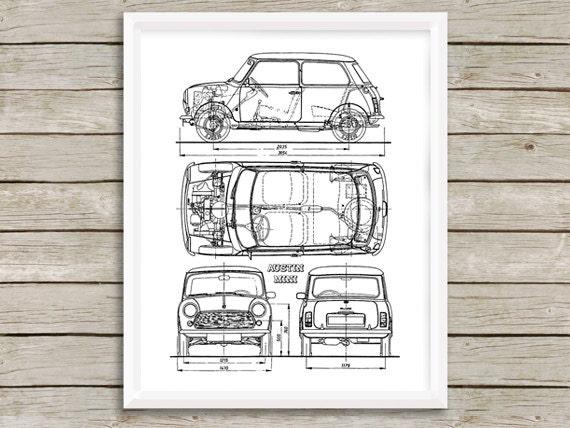 Mini-Dekor MINI Cooper MINI Blaupause Satz von 2 Blueprint