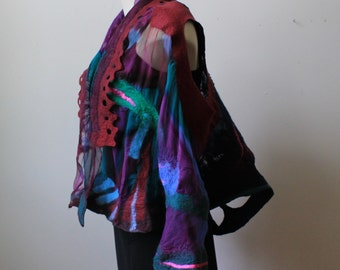 Painted silk and nuno felted vest/bolero. Very versatile