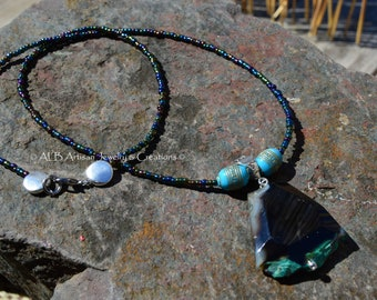 Genuine agate luster beaded necklace