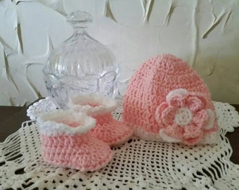 Baby pink and white crochet hat and booties set; Gift Set