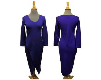 "Hourglass Dress ~ Vivid Purple ~ 1980s Vintage ~ Sz Small Bust 32-36"" ~ Miss California ~ Asymmetric Stretch"
