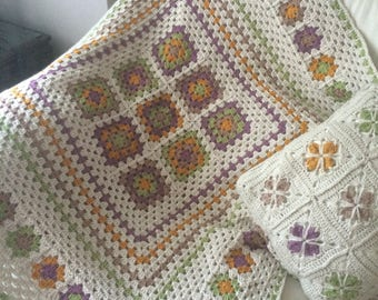 Patchwork Granny Square Crochet Blanket Lap Afghan Wheelchair Throw MADE TO ORDER