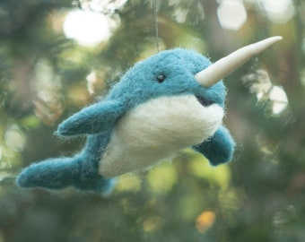 Needle Felted Narwhal Ornament