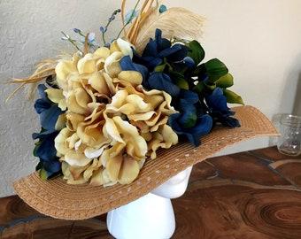 Tan and blue hydrangea hat