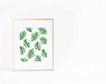 Summer Wall Art Print | Palm Leaf | Pattern | Watercolor | Instant Download