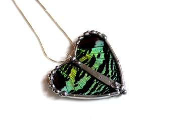 Madagascan Sunset Moth Heart Shaped Pendant, Real Butterfly Jewelry