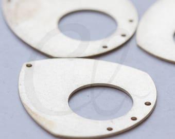 6 Pieces Raw Brass Teardrop Charm with 4 Holes - 35.6x33mm (3799C-J-315)