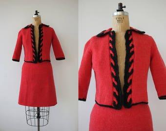 vintage 1960s suit / 60s red knit suit / 60s crochet suit / 60s cardigan skirt suit / 60s soft knit suit / 60s holiday suit / small medium