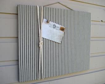 Linen Ticking Pin Board, Bulletin Board, made with a black and taupe ticking linen with a cotton cord knotted detail, Nautical cabin decor