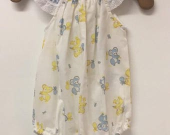 Infants summer flutter sleeve romper 100% cotton with Blue Check and white lace trim