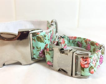 Mint floral Dog Collar and Bracelet Set - Floral Dog mom gift - Floral Fur Mom gift -Matching Bracelet - Pet Lover Gift - Dog walker gift