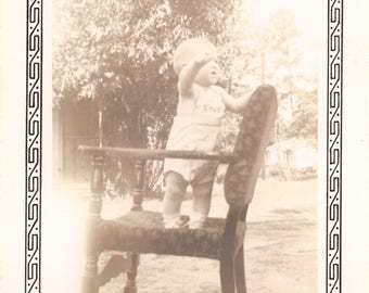 Vintage 1920's Black & White Snapshot Photo Young Child Standing on Rocking Chair